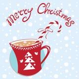 Cartolina di Natale del nuovo anno con la tazza e la caramella Fotografia Stock