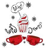 Cartolina di Natale del nuovo anno con le tazze ed i muffin Immagine Stock Libera da Diritti
