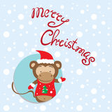 Cartolina di Natale del nuovo anno con una scimmia, un simbolo 2015 anni Fotografia Stock Libera da Diritti