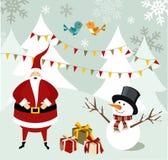 Cartolina di Natale del pupazzo di neve e del Babbo Natale. illustrazione vettoriale