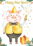 Cartolina di Natale dell'acquerello con il maiale sveglio del fumetto Simbolo dell'anno 2019 illustrazione di stock