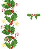 Cartolina di Natale dell'acquerello con le bacche dell'agrifoglio e le foglie, bastoncini di zucchero, stelle dorate Fotografia Stock Libera da Diritti