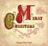 Cartolina di Natale dell'annata Fotografia Stock