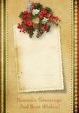 Cartolina di Natale dell'annata con i desideri Fotografia Stock