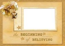 Cartolina di Natale dell'annata con i segnalatori acustici Fotografie Stock Libere da Diritti
