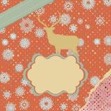 Cartolina di Natale dell'annata di Santa Claus Deer. ENV 8 Fotografia Stock