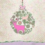 Cartolina di Natale dell'annata di Santa Claus Deer. ENV 8 Fotografie Stock