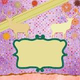Cartolina di Natale dell'annata di Santa Claus Deer. ENV 8 Fotografia Stock Libera da Diritti
