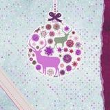 Cartolina di Natale dell'annata di Santa Claus Deer ENV 8 Fotografie Stock Libere da Diritti