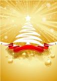 Cartolina di Natale dell'oro con l'albero di Natale Fotografia Stock