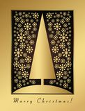 Cartolina di Natale dell'oro con la vigilia e l'ornamento di nuovo anno Fotografie Stock Libere da Diritti