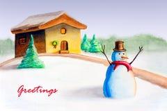 Cartolina di Natale dell'uomo della neve Fotografie Stock Libere da Diritti