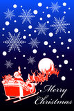 Cartolina di Natale della slitta della Santa Immagine Stock