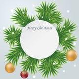 Cartolina di Natale di carta rotonda bianca Fotografia Stock