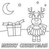 Cartolina di Natale di coloritura con la renna Fotografia Stock Libera da Diritti