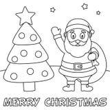 Cartolina di Natale di coloritura con Santa Claus Fotografia Stock Libera da Diritti