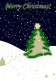Cartolina di Natale di nevicata Immagini Stock Libere da Diritti