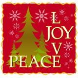 Cartolina di Natale di pace di gioia di amore con l'albero e la neve 2 Fotografie Stock