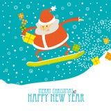 Cartolina di Natale di saluto con Santa su uno snowboard Immagini Stock