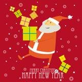 Cartolina di Natale di saluto con Santa sveglia Fotografie Stock Libere da Diritti
