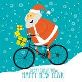 Cartolina di Natale di saluto con Santa sveglia Fotografia Stock Libera da Diritti