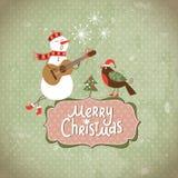 Cartolina di Natale di saluto dell'annata Fotografia Stock