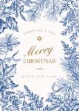 Cartolina di Natale di saluto nello stile d'annata Immagini Stock