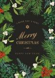 Cartolina di Natale di saluto nello stile d'annata Fotografie Stock