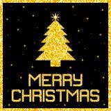Cartolina di Natale di scintillio dell'oro del pixel Vettore EPS8 Immagine Stock