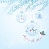 Cartolina di Natale di vettore con tre bagattelle Fotografie Stock