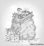 Cartolina di Natale disegnata a mano Fotografia Stock