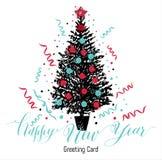 Cartolina di Natale disegnata a mano Albero del nuovo anno con le palle Immagine Stock