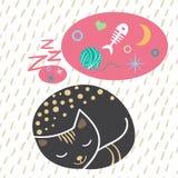 Cartolina di Natale disegnata a mano con i gatti divertenti svegli di sonno del fumetto, sognanti del pesce, calze, citazione Ogg Fotografie Stock