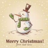 Cartolina di Natale disegnata a mano dell'annata Immagine Stock