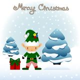 Cartolina di Natale Cartolina divertente con il Natale Elf Immagini Stock Libere da Diritti