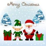 Cartolina di Natale Cartolina divertente con il Natale Elf e Santa Immagini Stock