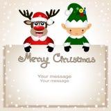Cartolina di Natale Cartolina divertente con il Natale Elf ed il Natale Immagine Stock