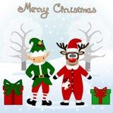 Cartolina di Natale Cartolina divertente con il Natale Elf ed il Natale immagine stock libera da diritti