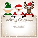 Cartolina di Natale Cartolina divertente con il Natale Elf, MOO di Natale Fotografia Stock