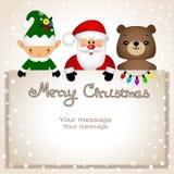Cartolina di Natale Cartolina divertente con il Natale Elf, orso e Sant fotografie stock