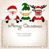 Cartolina di Natale Cartolina divertente con il Natale Elf, rei di Natale Fotografia Stock Libera da Diritti