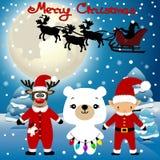 Cartolina di Natale Cartolina divertente con il Natale Elf, rei di Natale immagine stock libera da diritti