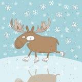 Cartolina di Natale divertente di pattinaggio sul ghiaccio delle alci Fotografia Stock Libera da Diritti