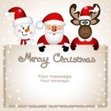 Cartolina di Natale Cartolina divertente con il pupazzo di neve, le alci di Natale e Fotografie Stock Libere da Diritti
