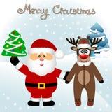 Cartolina di Natale Cartolina divertente con il Re di Natale e di Santa Claus immagini stock libere da diritti