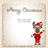 Cartolina di Natale Cartolina divertente con le alci di Natale Immagini Stock