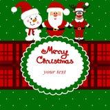 Cartolina di Natale Cartolina divertente con Santa, la renna e uno snowma Fotografie Stock