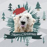 Cartolina di Natale divertente con un orso polare del ritratto poligonale che mostra lingua nel cappello di Santa Claus Fotografie Stock