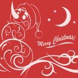 Cartolina di Natale divertente del pupazzo di neve Fotografie Stock
