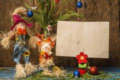 Cartolina di Natale divertente di scena di natività Copyspace Fotografia Stock